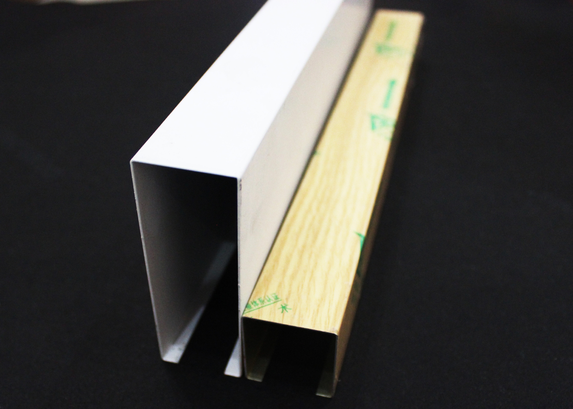 Commercial Aluminum Linear Drop Down Ceiling Tiles U-shaped With 0.8mm Thickness